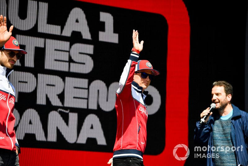 Kimi Raikkonen, Alfa Romeo Racing on stage at the Fan Zone