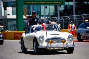Lance Stroll, Racing Point, en el desfile de pilotos