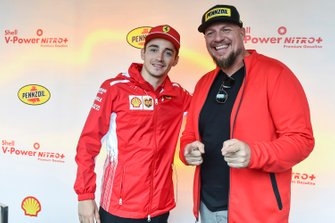 Charles Leclerc, Ferrari at Shell House with guest