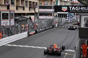Max Verstappen, Red Bull Racing RB15 crosses the finish line