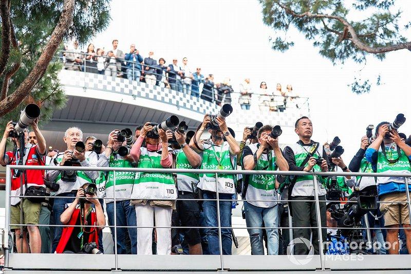 Photographers capture the podium celebrations