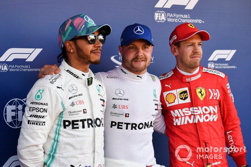 Top 3 Qualifiche: Lewis Hamilton, Mercedes AMG F1, il poleman Valtteri Bottas, Mercedes AMG F1, e Sebastian Vettel, Ferrari