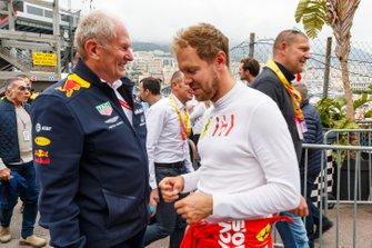 Helmut Markko, Consultant, Red Bull Racing, with Sebastian Vettel, Ferrari