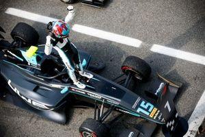 Race Winner Jake Hughes, HWA Racelab celebrates in Parc Ferme