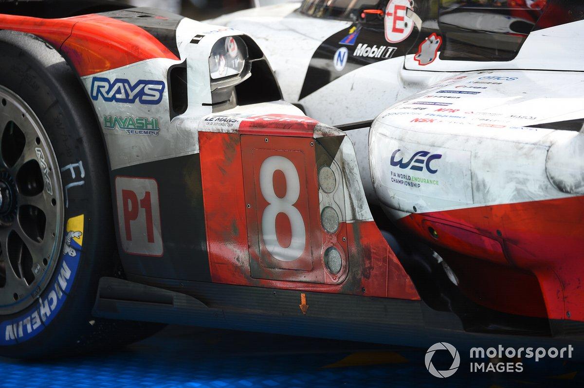 Detalle del #8 Toyota Gazoo Racing Toyota TS050: Sebastien Buemi, Kazuki Nakajima, Brendon Hartley