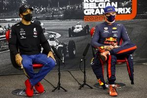 Pole man Lewis Hamilton, Mercedes-AMG F1, and Max Verstappen, Red Bull Racing, in the Press Conference