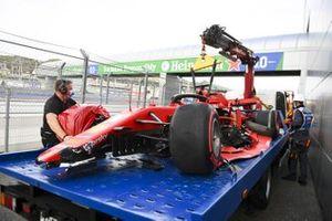 Car of Sebastian Vettel, Ferrari SF1000 being returtned by marshals after crashing in qualifying