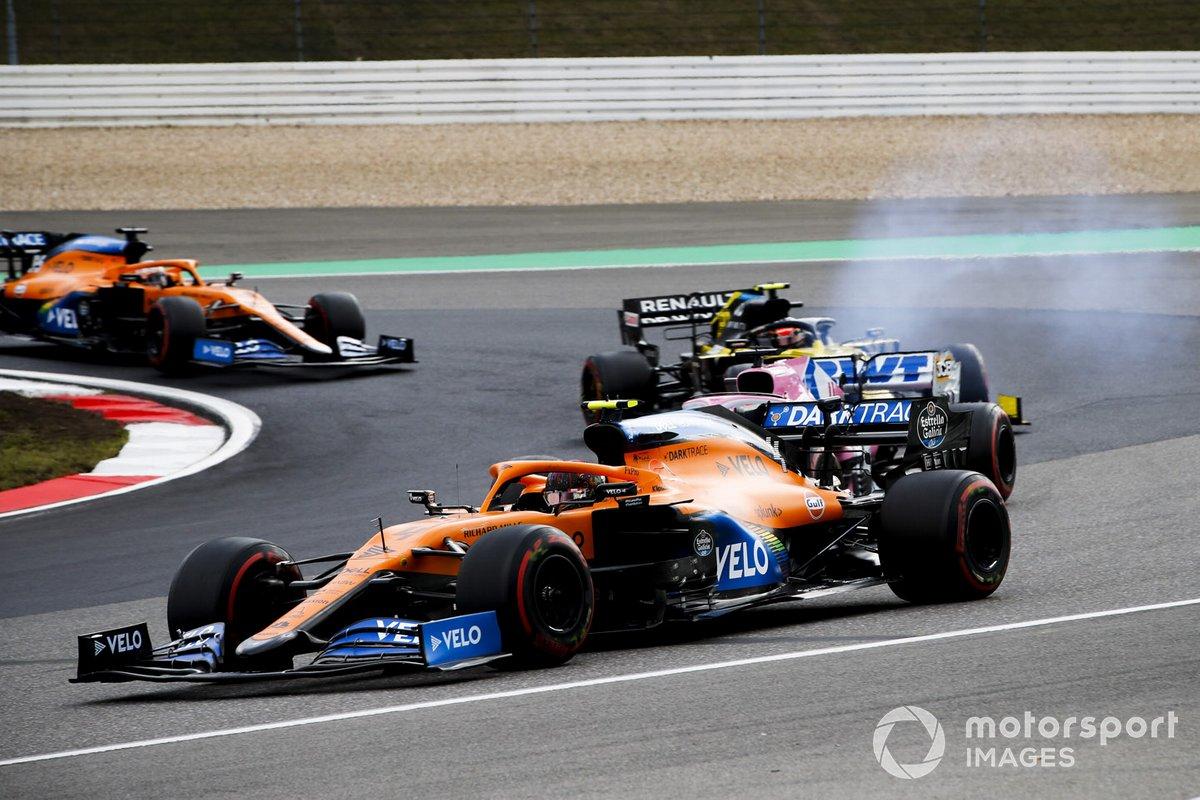 Lando Norris, McLaren MCL35, Sergio Pérez, Racing Point RP20, Esteban Ocon, Renault F1 Team R.S.20