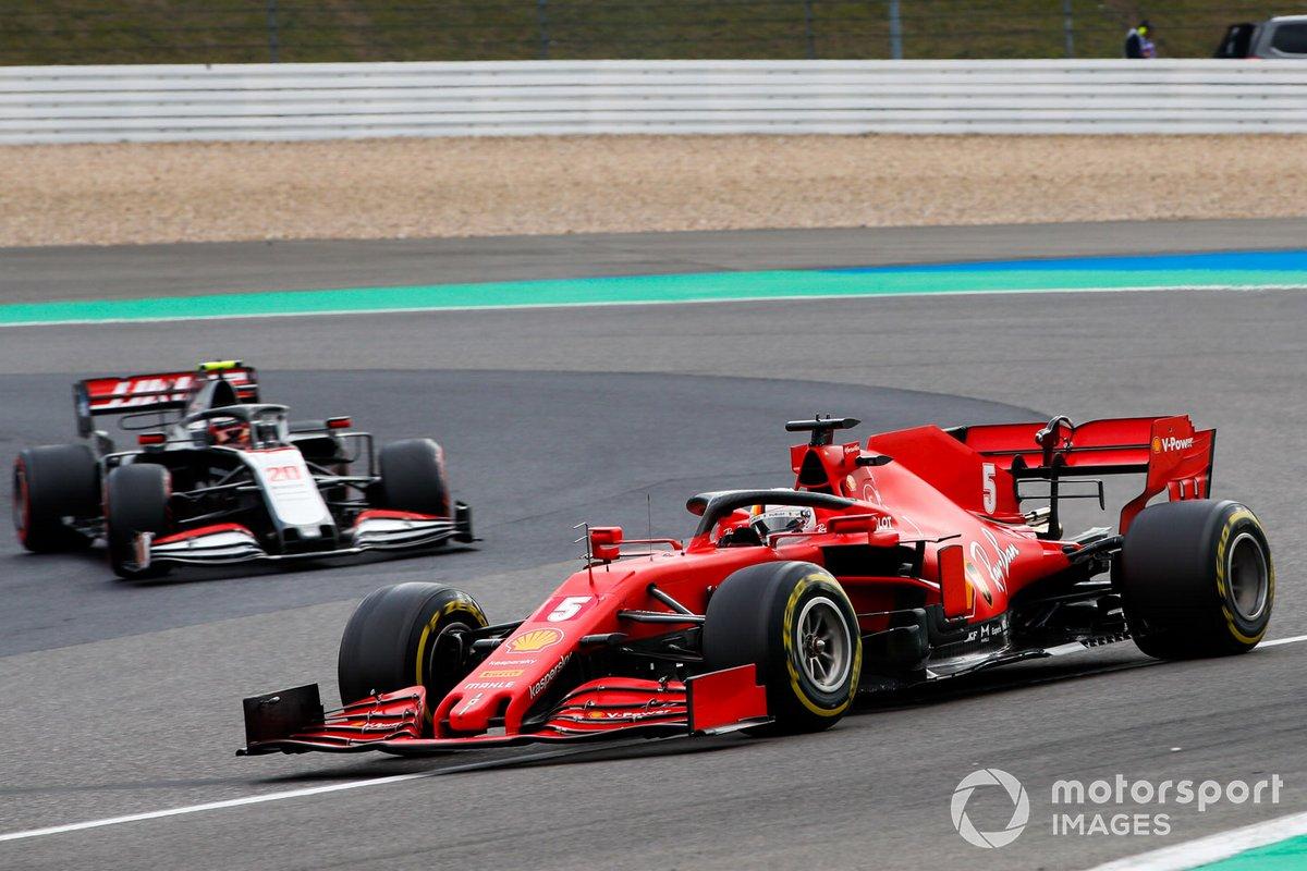 Sebastian Vettel, Ferrari SF1000, Kevin Magnussen, Haas VF-20