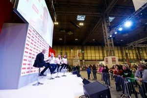 W Series drivers Alice Powell, Caitlin Wood and Megan Gilkes talk to Alan Hyde on the Autosport Stage