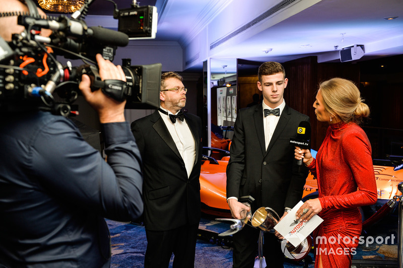 McLaren Autosport BRDC Award winner Tom Gamble being interviewed by Julia Piquet