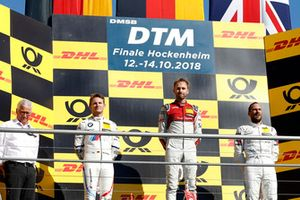 Podium: Winnaar René Rast, Audi Sport Team Rosberg, nummer twee Marco Wittmann, BMW Team RMG, nummer drie Gary Paffett, Mercedes-AMG Team HWA