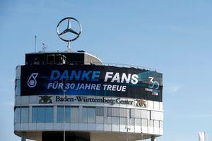 Mercedes banner on the Baden-Würtemberg Center