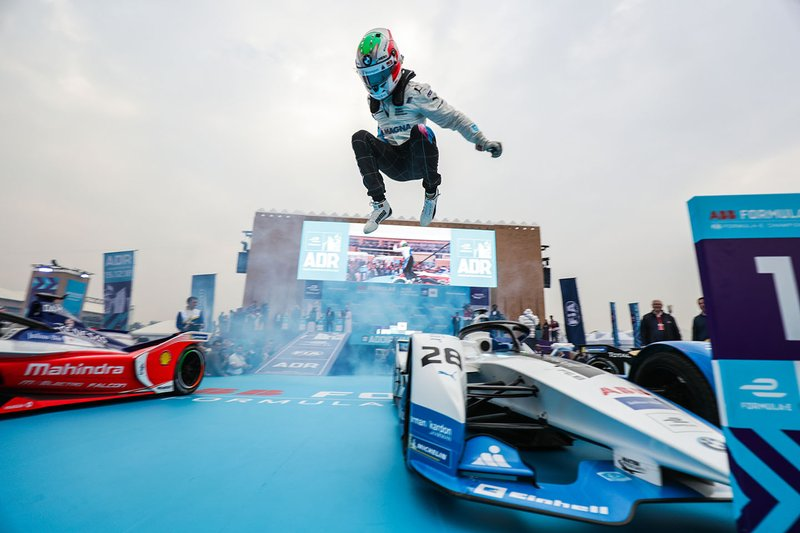 Antonio Felix da Costa, BMW I Andretti Motorsports leaps off his car in celebration of his victory