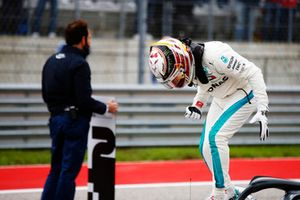 Lewis Hamilton, Mercedes AMG F1, celebrates after taking Pole Position