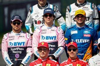 Sergio Perez, Racing Point, Lance Stroll, Racing Point and Carlos Sainz Jr., McLaren