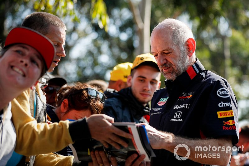Adrian Newey, Chief Technical Officer, Red Bull Racing signs autographs for fans