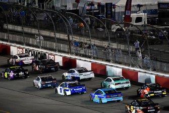 Jimmie Johnson, Hendrick Motorsports, Chevrolet Camaro Ally and Denny Hamlin, Joe Gibbs Racing, Toyota Camry FedEx Ground
