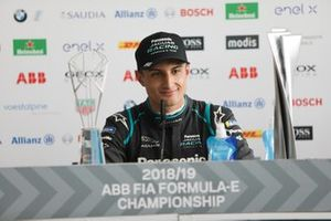 Mitch Evans, Panasonic Jaguar Racing, in the press conference with his trophies