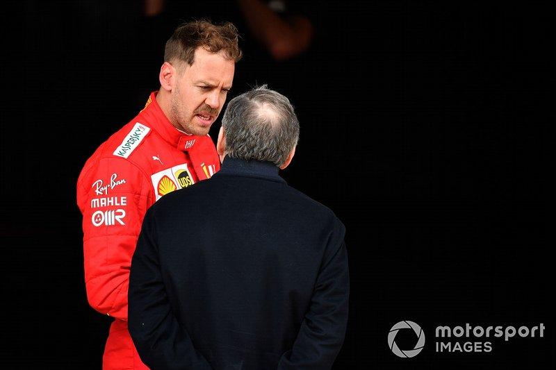 Sebastian Vettel, Ferrari, talks to Jean Todt, President, FIA
