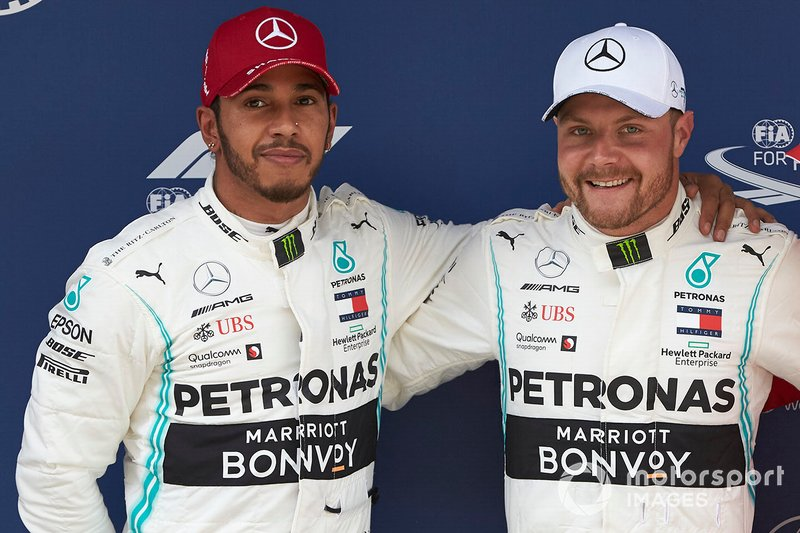 Front row starters Lewis Hamilton, Mercedes AMG F1, and pole man Valtteri Bottas, Mercedes AMG F1
