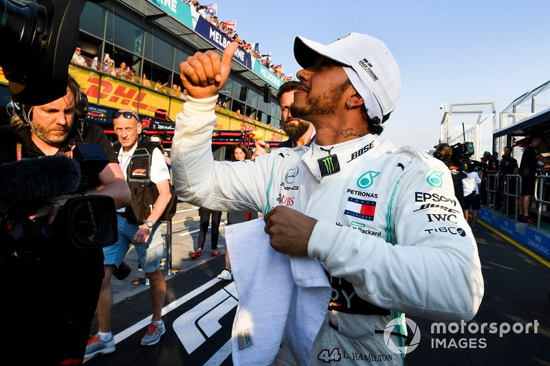 Lewis Hamilton, Mercedes AMG F1, after securing pole position