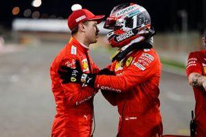 Charles Leclerc, Ferrari celebrates pole position in Parc Ferme with Sebastian Vettel, Ferrari