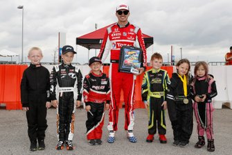 Race Grand Marshal Graham Rahal, Rahal Letterman Lanigan Racing Honda with a group of USAC Quarter Midget drivers.