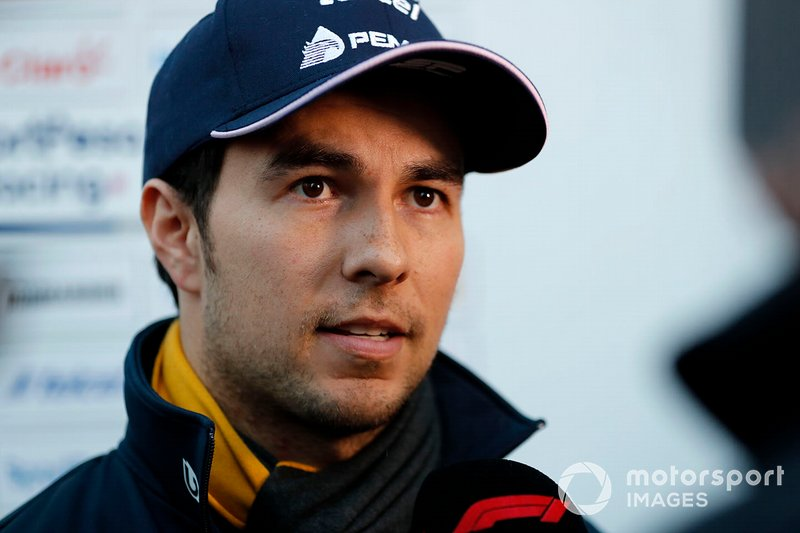 Sergio Perez, Racing Point F1 Team talks with the media