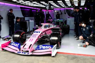 Sergio Perez, Racing Point RP19, exits his pit garage