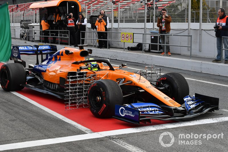 Lando Norris, McLaren MCL34, con sensori aerodinamici