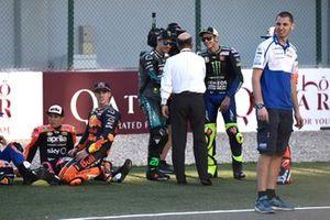 Франко Морбиделли, Petronas Yamaha SRT, Валентино Росси, Yamaha Factory Racing, и глава Dorna Sports Кармело Эспелета
