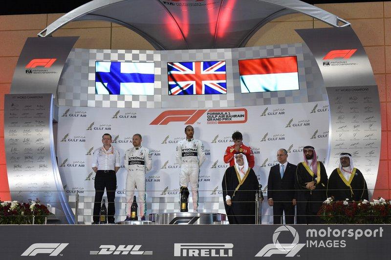 Podyum: Yarış galibi Lewis Hamilton, Mercedes AMG F1, 3. Charles Leclerc, Ferrari, 2. Valtteri Bottas, Mercedes AMG F1