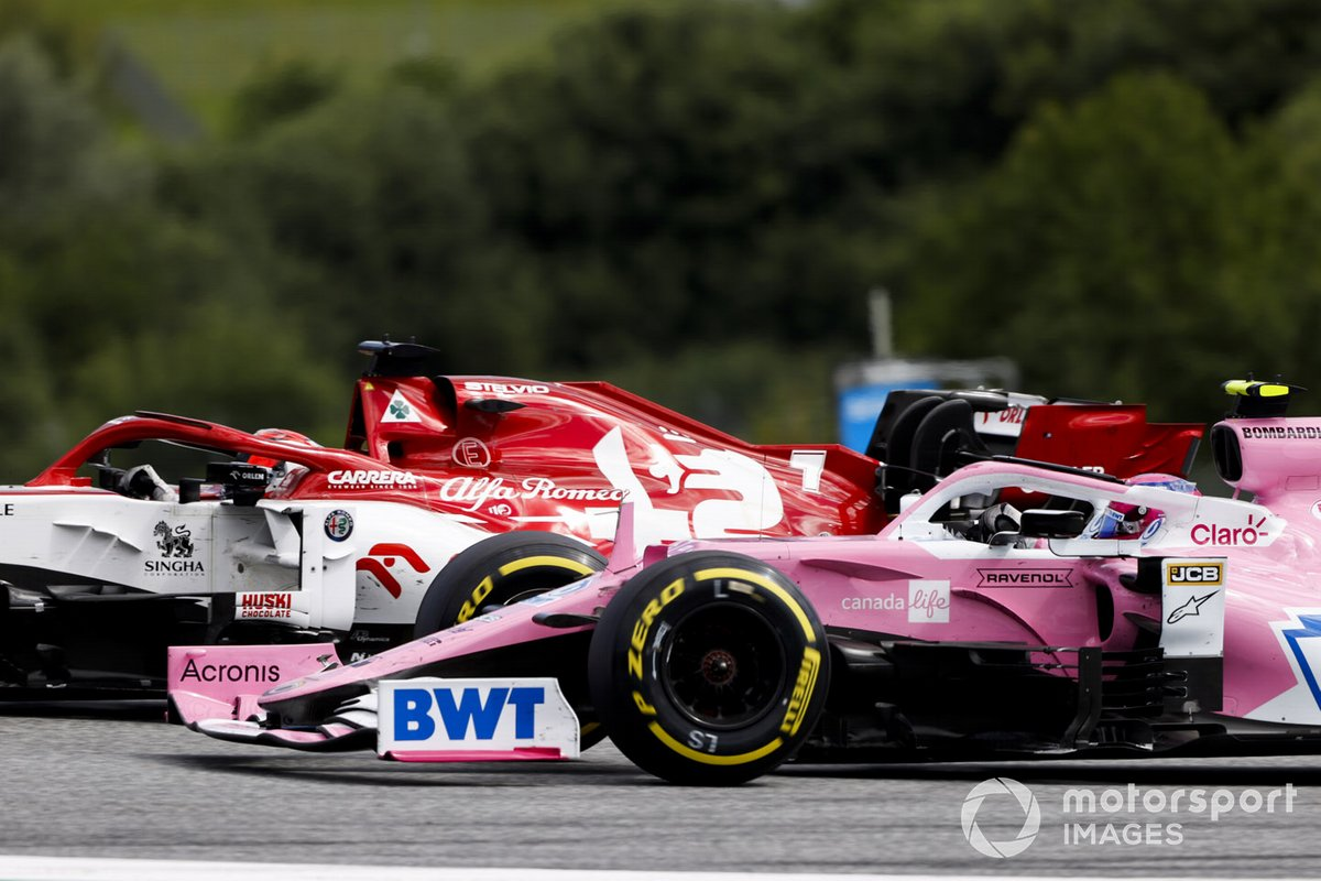 Kimi Raikkonen, Alfa Romeo Racing C39, in battaglia con Lance Stroll, Racing Point RP20