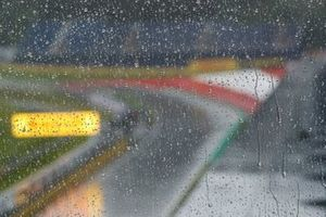 Rain pours down at the circuit