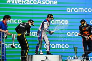 Oscar Piastri, Prema Racing, Race winner David Beckmann, Trident and Dennis Hauger, Hitech Grand Prix celebrate on the podium
