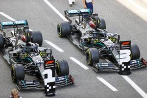 The cars of Lewis Hamilton, Mercedes F1 W11 EQ Performance, 1st position, Valtteri Bottas, Mercedes F1 W11 EQ Performance, 3rd position, in Parc Ferme