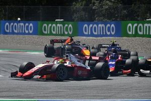 Mick Schumacher, Prema Racing, leads Roy Nissany, Trident, and Yuki Tsunoda, Carlin