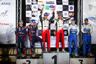 Podium: Winner Sébastien Ogier, Julien Ingrassia, Toyota Gazoo Racing WRT Toyota Yaris WRC, second Ott Tänak, Martin Järveoja, Hyundai Motorsport Hyundai i20 Coupe WRC, third place Teemu Suninen, Jarmo Lehtinen, M-Sport Ford WRT Ford Fiesta WRC