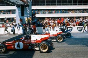 Jacky Ickx, Ferrari 312B2, Clay Regazzoni, Ferrari 312B2, Jackie Stewart, Tyrrell 003 Ford, GP di Francia del 1971