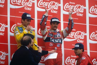 Nigel Mansell, Williams, Ayrton Senna, Lotus, Michele Alboreto, Ferrari, GP di San Marino del 1987