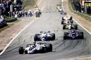 Ricardo Zunino, Brabham BT49 Ford, leads Eddie Cheever, Osella FA1 Ford, and Mario Andretti, Lotus 81 Ford
