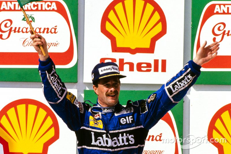 Podium: Race winner Nigel Mansell, Williams