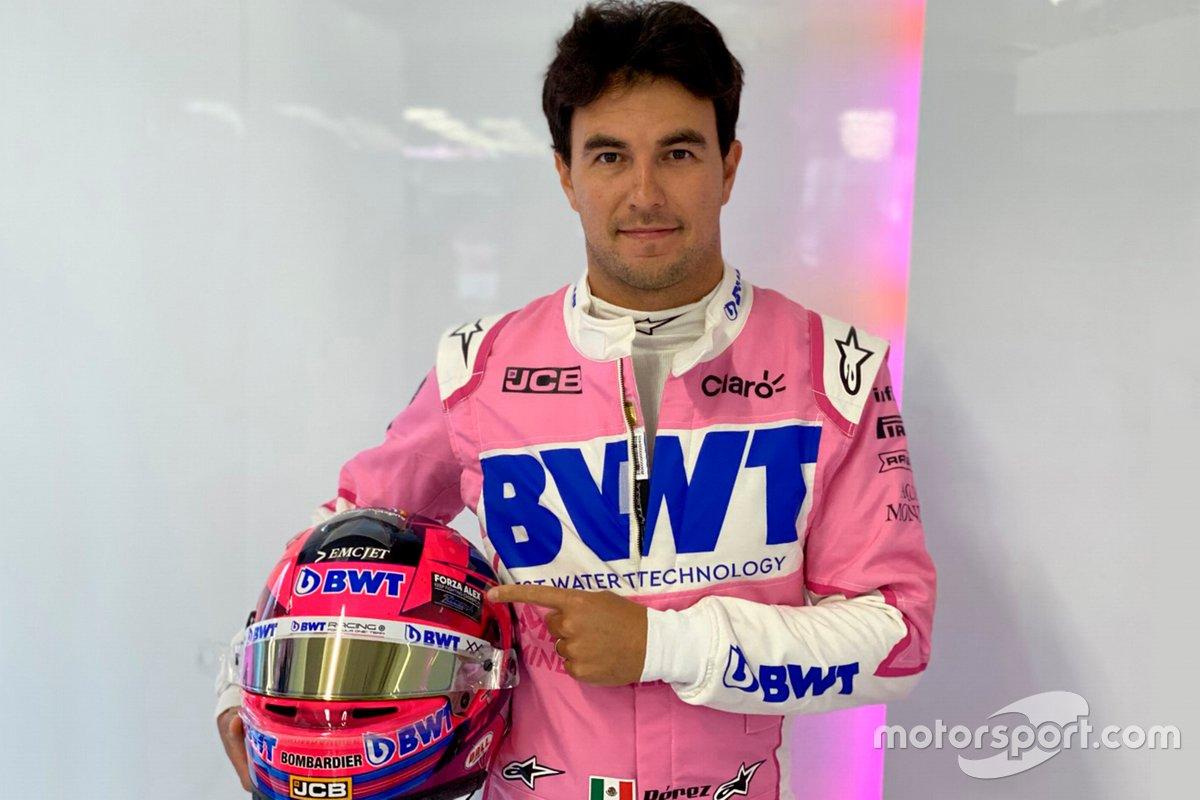 El casco de Sergio Pérez, Racing Point con un homenaje a Alex Zanardi