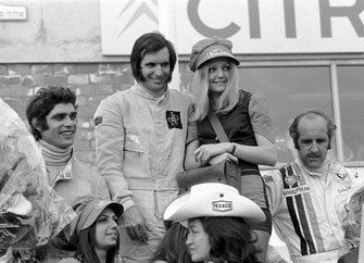 Second place Francois Cevert, Tyrrell, Winner Emerson Fittipaldi, Lotus and third place Denny Hulme, McLaren(NZL) 3rd Belgian GP, Nivelles, June 4 1972