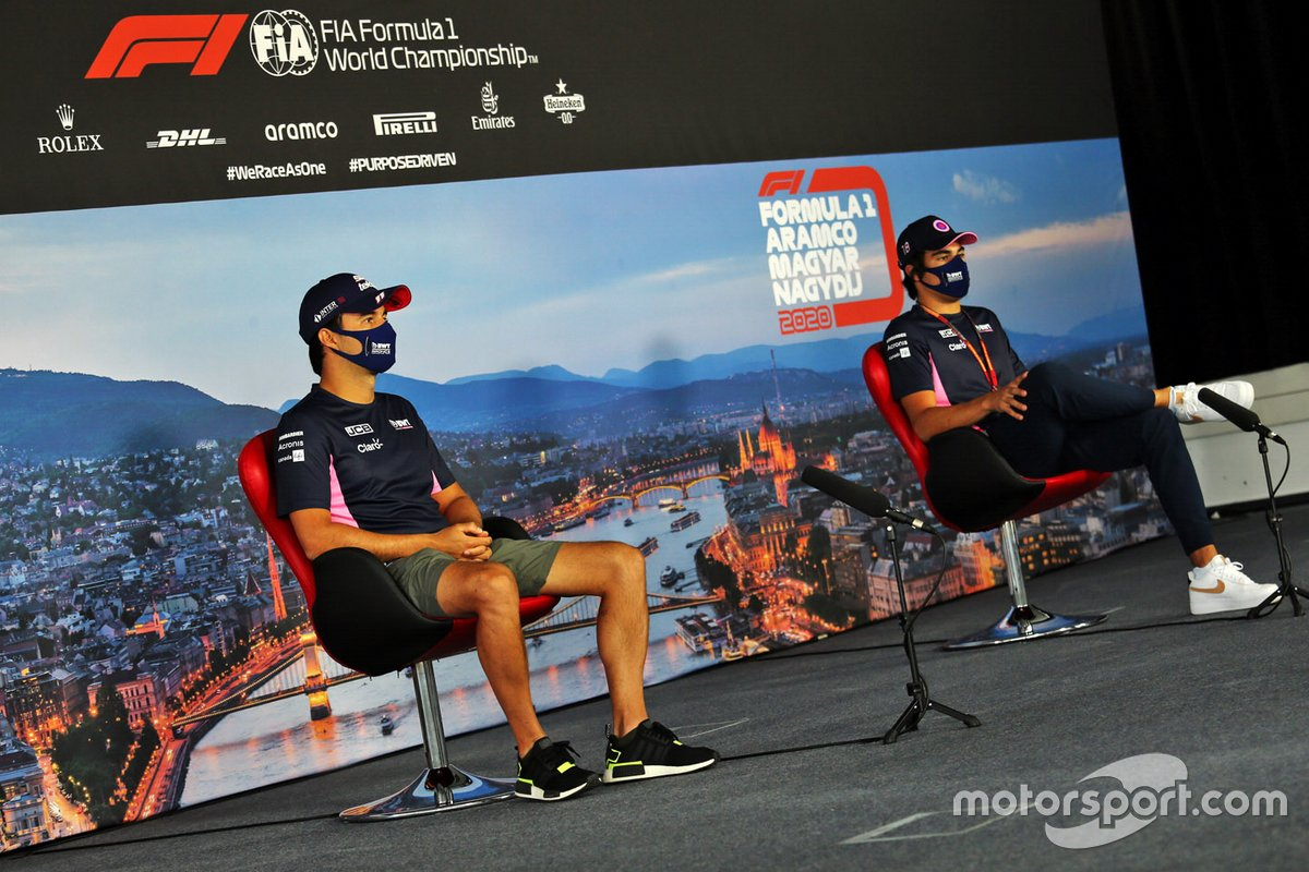 Sergio Pérez, Racing Point y Lance Stroll, Racing Point en la conferencia de prensa