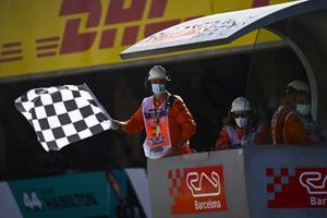 The chequered flag is waived at the end of the race