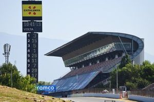 The Barcelona Scoring Tower And Empty Pit Straight Grandstand