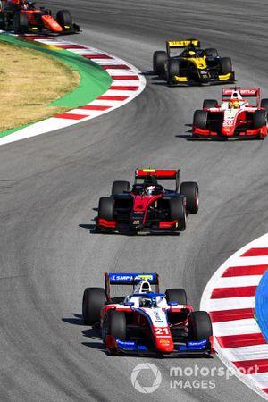 Robert Shwartzman, Prema Racing, leads Callum Ilott, UNI-VIRTUOSI, Mick Schumacher, Prema Racing, Guanyu Zhou, UNI-VIRTUOSI, and Nobuharu Matsushita, MP Motorsport