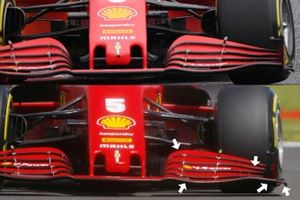 Ferrari SF1000 front wing, Austrian GP vs British GP comparison